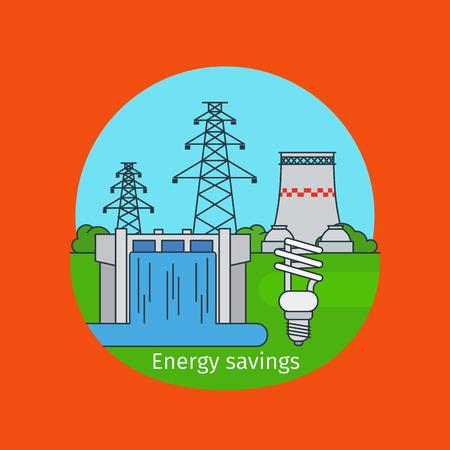 energy savings: Energy savings concept illustration with energy saving bulb vector illustration