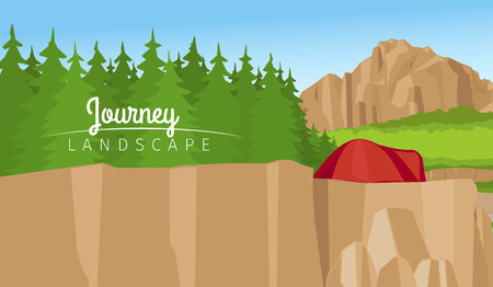 Realistic vector journey landscape horizontal background. Mountain and forest Illustration