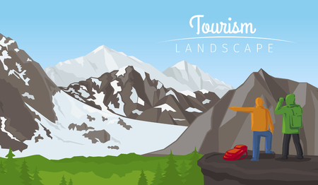 winter sport: Realistic vector winter sport tourism landscape, horizontal background with mountains