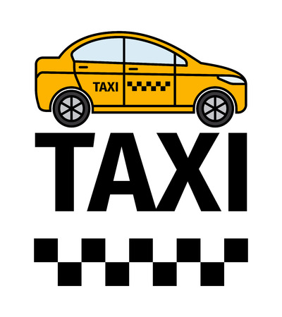Taxicab transport, advertising poster. Yellow car and text vector illustration Illustration