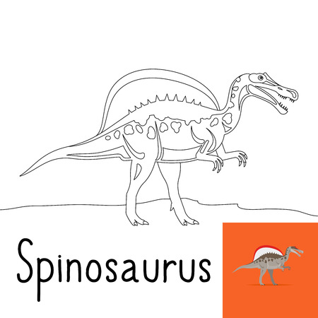 large skull: Coloring page for kids with Spinosaurus dinosaur and colored preview. Vector illustration