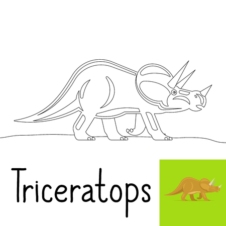 doomed: Coloring page for kids with Triceratops dinosaur and colored preview. Vector illustration Illustration