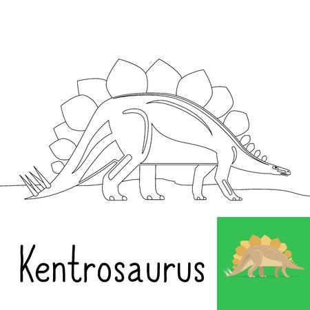 Kleurplaat voor kinderen met Kentrosaurus dinosaurus en gekleurde preview. vcetor illustratie