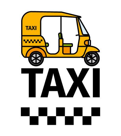 rikscha: Tuk-tuk rickshaw taxi transport, advertising poster, vector illustration Lizenzfreie Bilder