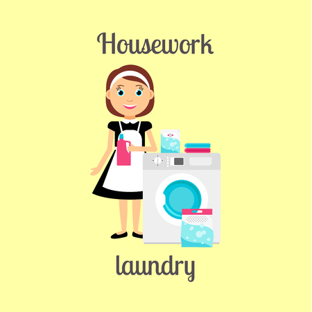 housework: Housekeeper woman make housework. Laundry with washing mashine vector illustration