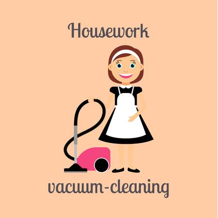 housekeeper: Housekeeper woman make housework. Vacuum-cleaning vector illustration