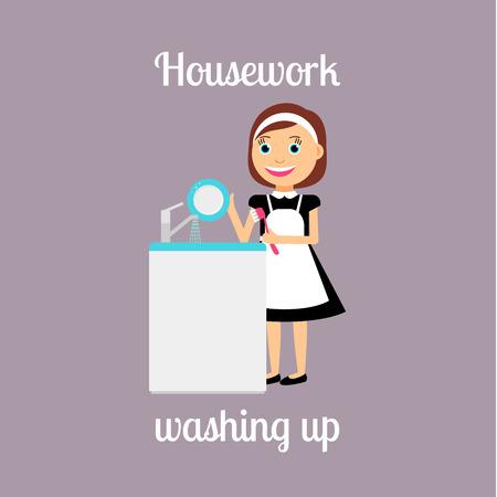 housekeeper: Housekeeper woman make housework. Washing up vector illustration Illustration