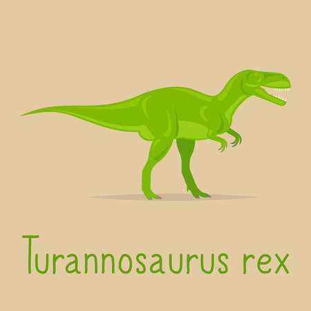 prehistorical: Turannosaurus rex dinosaur colorful card for kids playing. Vcetor illustration
