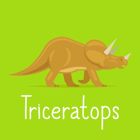 Triceratops dinosaur colorful card for kids playing vector illustration Illustration