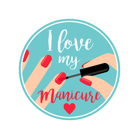 manicurist: Professional Manicure vector poster with ladies hands and nail polish. Circle shape