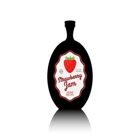 strawberry jam: Black bottle silhouette with reflection and vintage fruit label. Strawberry jam container vector illustration Illustration
