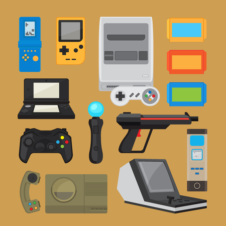 Vintage digital entertainment flat icons. Old retro game elements like joystick, cartridge and arcade game console. Vector illustration Illustration