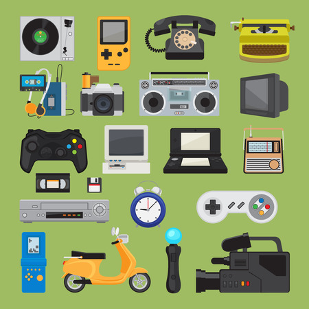 Hipster tech gadgets. 90s gadget icons like old joystick and console, gamepad and video tape. Vector illustration