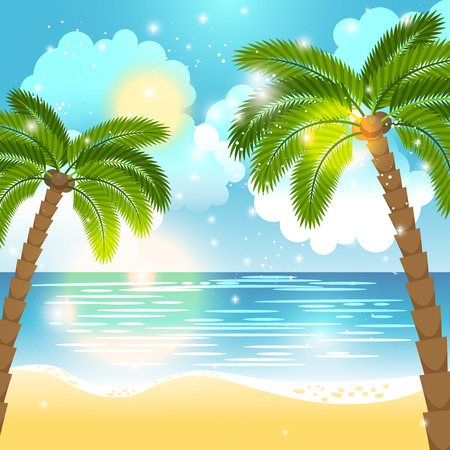 ocean view: Sea view background. Ocean and palm trees seaside blue design. Vector illustration