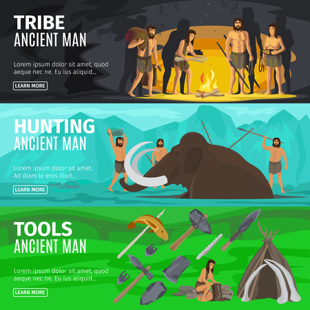Stone age extinct extinction ancient primitive caveman evolution banners. Primitive man like Neanderthals or Homo sapiens vector illustration Stock Photo