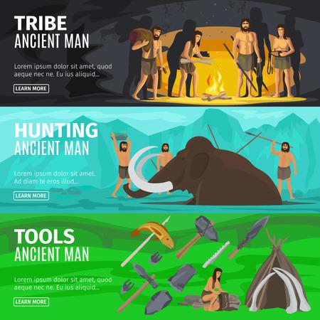neanderthal women: Stone age extinct extinction ancient primitive caveman evolution banners. Primitive man like Neanderthals or Homo sapiens vector illustration Stock Photo