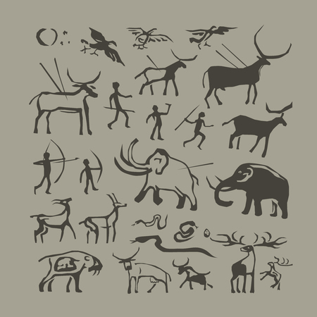 anthropology: Vector rock painting. Cave man and animals anthropology primitive stone age paintings Illustration