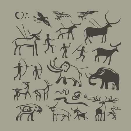 pintura de la roca del vector. pinturas edad de piedra primitiva cueva hombre y los animales antropología