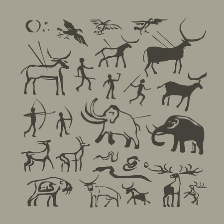 Vector rock painting. Cave man and animals anthropology primitive stone age paintings Stock Photo