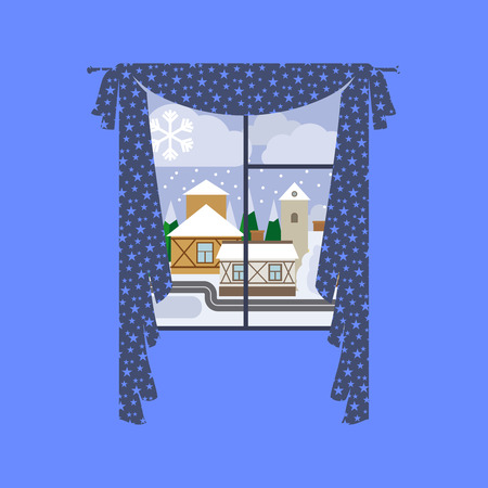 Cute window staers curtain with winter city landscape. Vector illustration