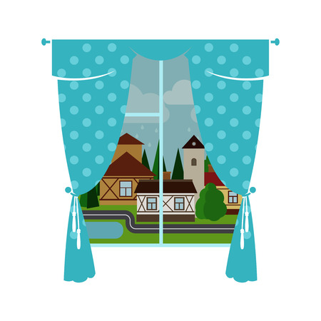 Cute blue window curtain with rainy city landscape. Vector illustration