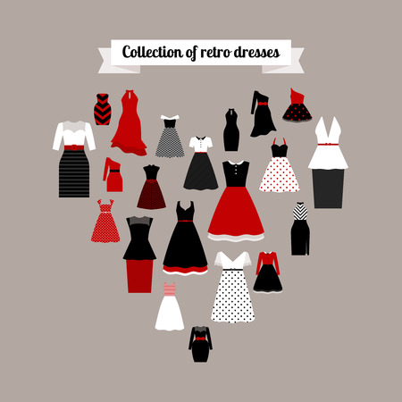 Collection of retro dresses icons in the heart shape. Vector illustration