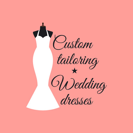 couturier: Custom tailoring wedding dresses logo design with mannequin vector illustration Illustration
