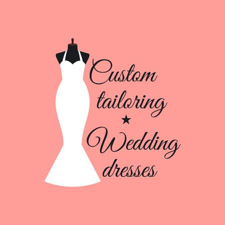 Custom tailoring wedding dresses logo design with mannequin vector illustration Illustration