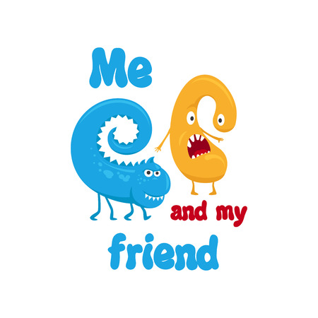 Cute blue print for t-shirt design. Me and my friend. Funny monsters vector illustration