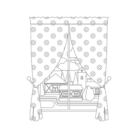 berber: Coloring page design with window curtain and city landscape. Vector illustration Illustration
