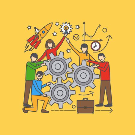 teammates: Vector team learning conceptual illustration on yellow background