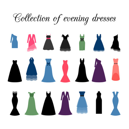Collection of colorful different evening dresses, vector icons Illustration