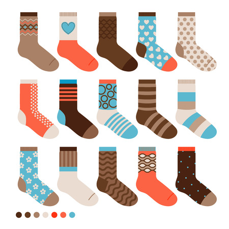 Colorful pastel cute socks. Nice warm vector male sock set Illustration