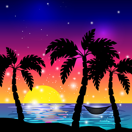 ocean view: Caribbean sea view with palm tree silhouettes and ocean sunset vector illustration Illustration