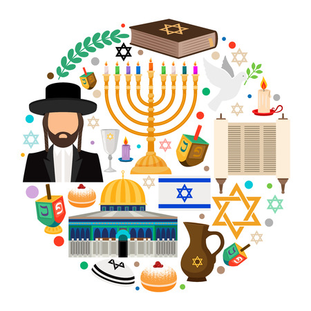 Jewish holiday symbols. Jewish hanukkah vector round label on white background Illustration