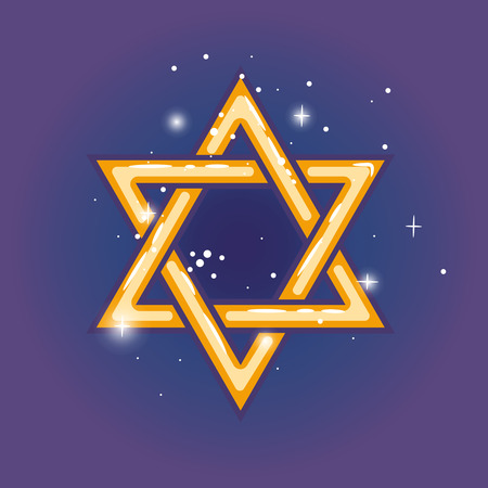 hasidism: Star of david. Jewish shield zion star for hanuka gold on blue background. Vector illustration