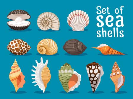 海の貝は、青の背景に分離されました。貝殻セット海デザインのベクトル図
