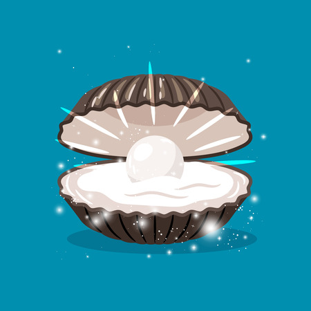 Glitter shell with pearl inside and sparkles vector illustration