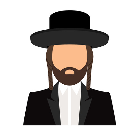rabbi: Jew orthodox icon. Jewish orthodox rabbi avatar flat vector