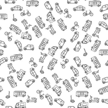 trackless: Ground transportation in linear style monochrome seamless pattern. Vector illustration