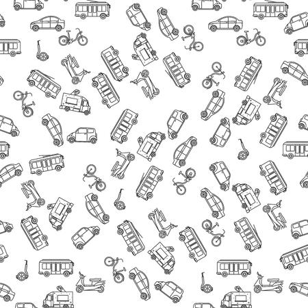transporte terrestre: Transporte terrestre en blanco y negro sin fisuras patrón de estilo lineal. ilustración vectorial