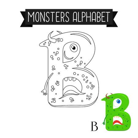Dibujo Para Colorear Monstruos Alfabeto Para Niños. Letra H ...