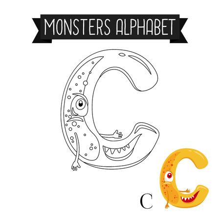 Coloring page monsters alphabet for kids. Letter C vector illustration