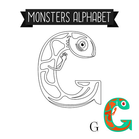 g spot: Coloring page monsters alphabet for kids. Letter G vector illustration