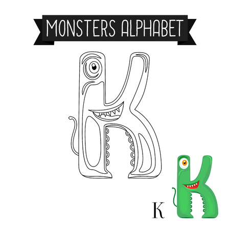 Coloring page monsters alphabet for kids. Letter K vector illustration