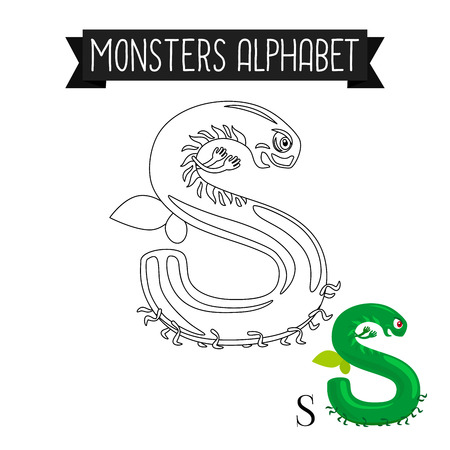 Coloring Page Monsters Alphabet For Kids Letter S Vector Illustration