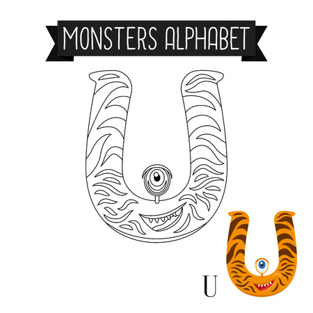 Coloring page monsters alphabet for kids. Letter U vector illustration