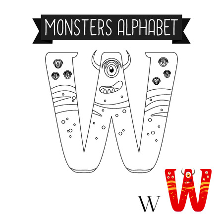 Coloring page monsters alphabet for kids. Letter W vector illustration