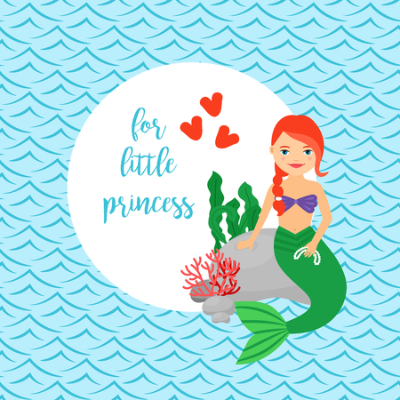 Cute card for girls with mermaid, circle frame and waves background. For little princess text. Vector illustration