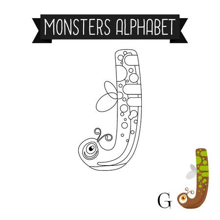 Página Para Colorear Alfabeto De Monstruos Para Niños. Ilustración ...